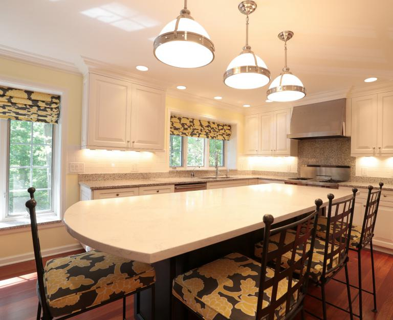 Painted existing cabinets & new island countertop