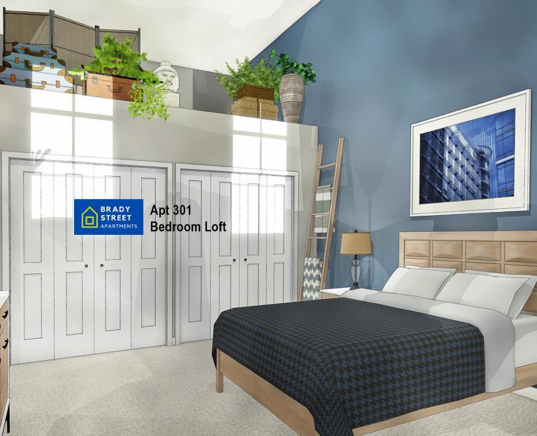 Brady St Apts 301 Bedroom