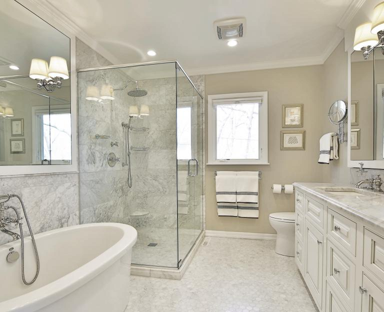 Carrera marble master bath